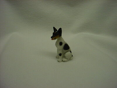 RAT TERRIER black white puppy TiNY DOG Figurine HAND PAINTED MINIATURE Statue