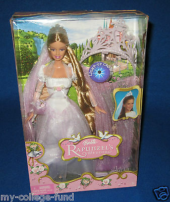 Barbie Rapunzel Wedding Doll With Light Up Crown New