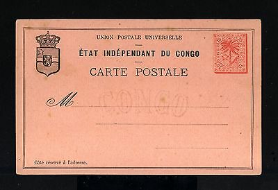 7804-CONGO-OLD UNUSED POSTCARD ETAT INDEPENDANT DU CONGO.15 Cts.UPU.Carte postal