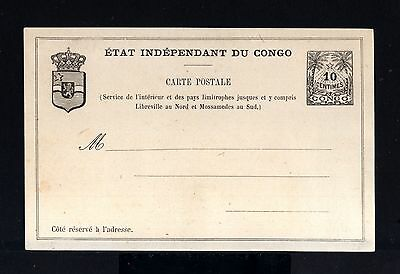 7805-CONGO-OLD UNUSED POSTCARD ETAT INDEPENDANT DU CONGO.10 Cts.UPU.Carte postal