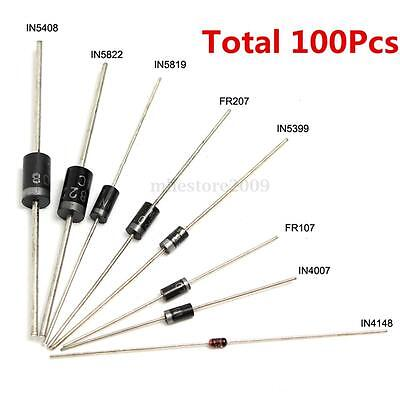 100Pcs 8 Values Diode Bag Assortment Kit Set 1N4148 FR107 1N5408 For Arduino