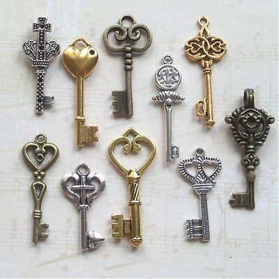 100 christmas charm skeleton gold silver bronze craft keys new old look wedding