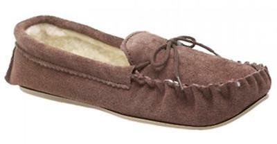 Mokkers SHERIDAN Boys Junior Suede Leather Warm Moccasin Slippers Taupe Brown