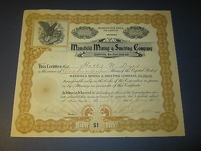 Old 1907 - Mansfield Mining & Smelting Co. - Stock Certificate -  ARIZONA