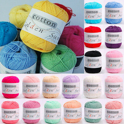New 50g Cotton Made For Baby Kids Yarn Balls Soft Knitting 32 Colors Pick