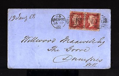 7810-GREAT BRITAIN-COVER LIVERPOOL to DUMFRIES.1858.One Penny.BRITISH.England