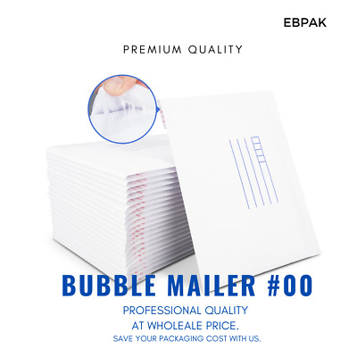 Bubble Mailer #0 100x180mm Padded Bag #00 White Kraft Cushioned Envelope x1000