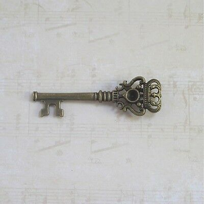 10 Necklace skeleton key new old antique vintage look crafts jewelry 3 colors