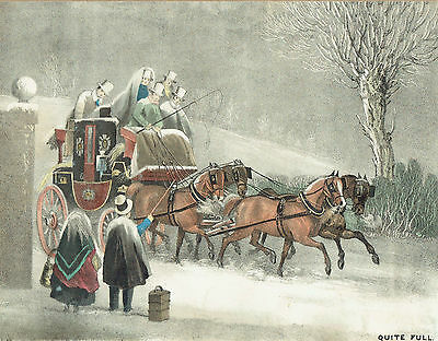 "19th Century Coaching Lithograph - ""Quite Full"""