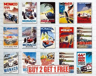 A3 Vintage High Quality Monaco Grand Prix Classic Motor Racing Retro Posters
