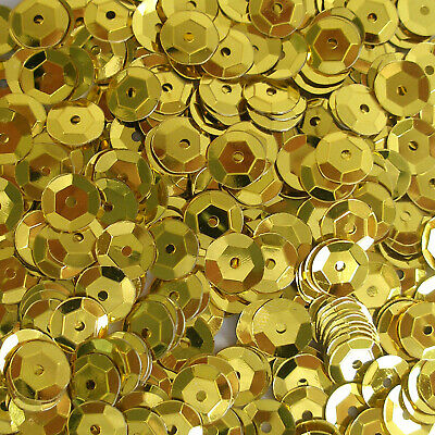 Sequins Gold 8mm Round Cup ~400 or ~4,750 pieces Loose High Quality
