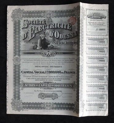 Russia Odessa Electricity 1910 Share Certificate With Coupons(F1582)