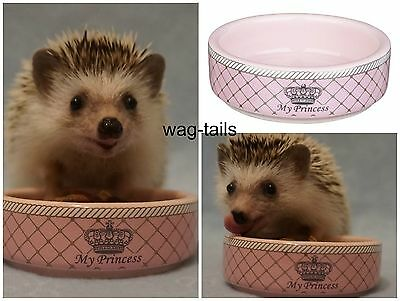 Trixie Hamster Pygmy Hedgehog Small Pet Pink Princess Ceramic Food Water Bowl