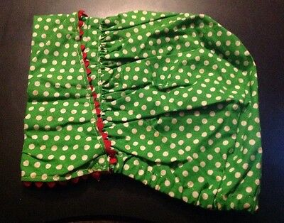 Vintage Ladies' Green With White Polka Dots Bonnet With Red Rick Rack Trim