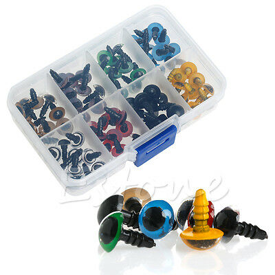80Pcs 10mm 8 Colors Plastic Safety Eyes Washers For Teddy Bear Doll Animal