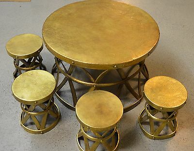 Vintage Hand Hammered Brass Table W 4 Stools Circa 1950s Made in Hong Kong