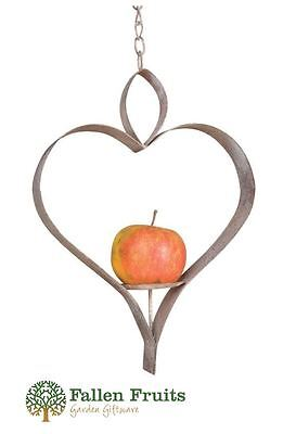 Fallen Fruits Aged Metal Heart Bird Feeder or Candle Holder Shabby Chic