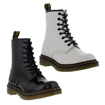 Dr Martens 1460 Patent Womens Black White Leather Ankle Boots Size 4-8