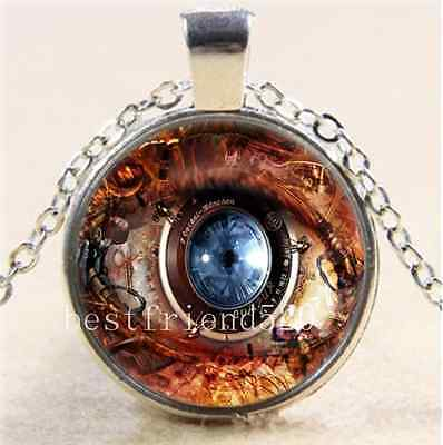 Steampunk Eye Photo Cabochon Glass Tibet Silver Chain Pendant Necklace