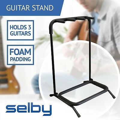 Triple 3 Guitar Rack Stand for Electric Acoustic Bass Guitars