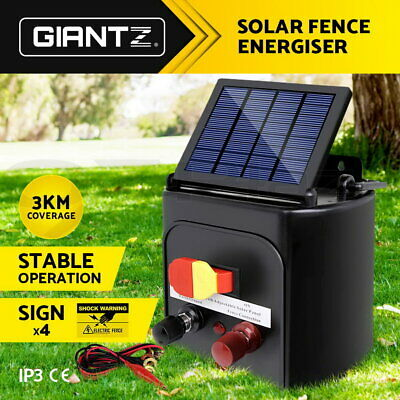 3km Solar Electric Fence Energiser Energizer Power Charger 0.1J Farm Pet Animal