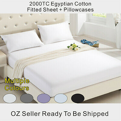 2000TC Extreme Soft Egyptian Cotton Fitted Sheet+Pillowcases Set Queen/King Size