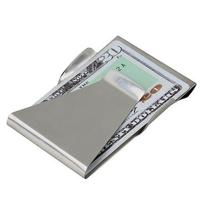 Slim Money Clip Double Sided Cash Credit Card Holder Wallet Stainless Steel GU