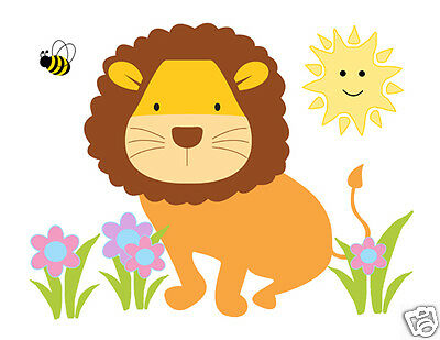 LION MURAL WALL Decals Baby Girl Boy Safari Jungle Animal Nursery ...