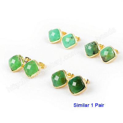 1Pair Rhombus Natural Chrysoprase Faceted Gold Plated Bezel Studs 12mm HZG100