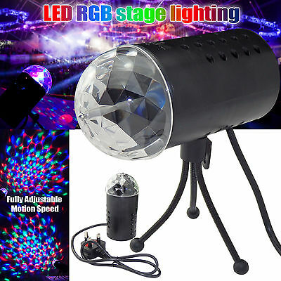 New Disco Lights RGB LED Stage Lighting 3D Effect Rotating Crystal Ball Party DJ