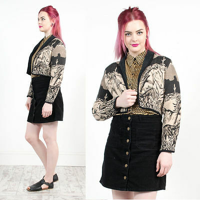 Vintage Horse Patterned Tapestry Blazer Jacket Cropped Style Casual Western 10