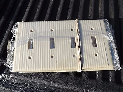 1 Vintage NOS LEVITON Bakelite Ribbed Ivory 4 Gang Light Swtich Cover Free Ship