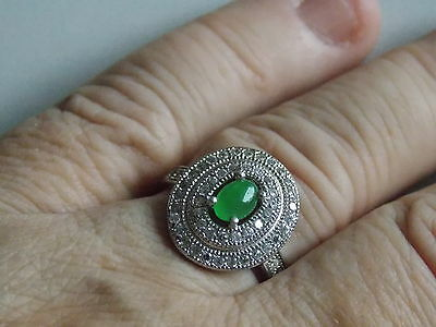 Beautiful Art Deco Inspired Sterling Silver & Emerald, CZ Ring Sz N