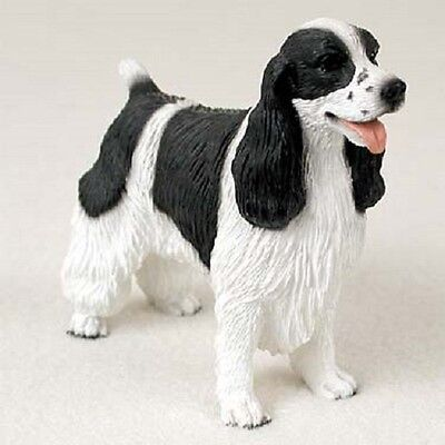 SPRINGER SPANIEL FIGURINE dog HAND PAINTED resin Statue black white B&W puppy