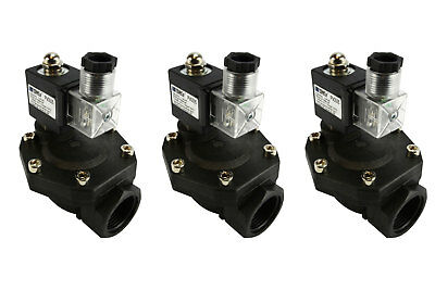 "3x 1"" BSPP Electric Plastic Nylon Solenoid Air Water Valve NC 12V DC pneumatic"