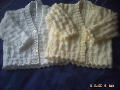 Hand Knitted Baby Girls Cardigans In various Colours Size 3-6 Months.
