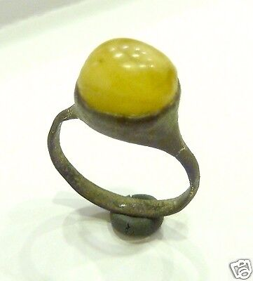 Medieval bronze ring with amber insert (318)