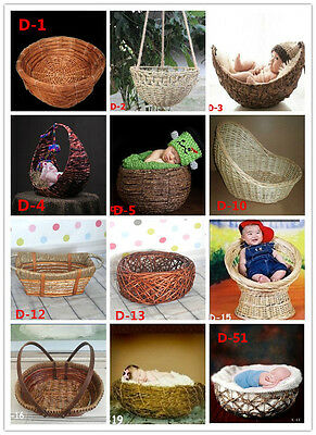 New Creative Photography Prop Handmade Woven Basket for Newborn Baby