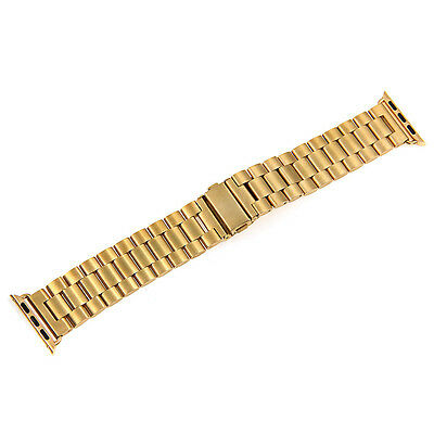 Gold Steel Wristwatch Band Replacement Strap With Connecter for 38mm Apple Watch