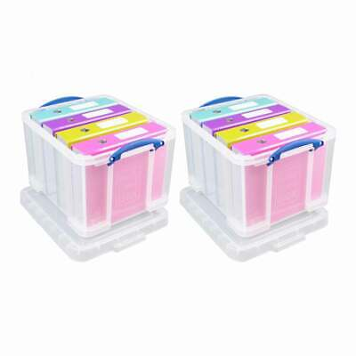 Really Useful 35 Litre Pack of 2 Clear Plastic Storage Boxes