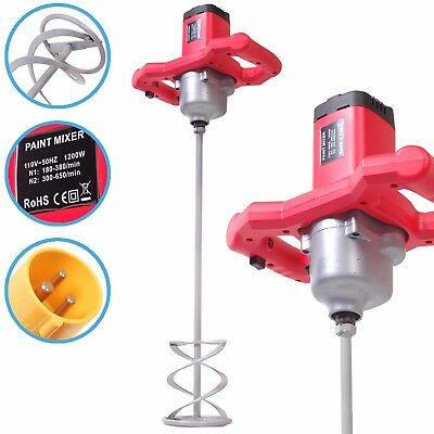 1200w 110v ELECTRIC PLASTER MORTAR PAINT CEMENT GROUT MIX STIRRER PADDLE MIXER