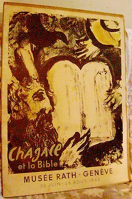 1962 Marc Chagall Moses and the Tablets of the Law Mourlot Lithograph JUDAICA !!