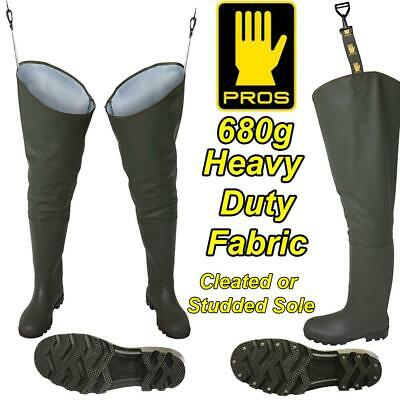 PROS 680g DELUXE HEAVY DUTY THIGH WADERS FISHING GREEN