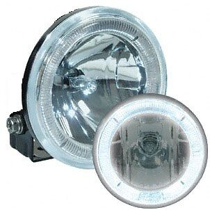 A Pair of Fog Lights / Lamps with LED Angel Eye [JF795BW] Clear / White Lens 12V