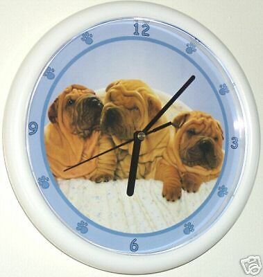 Shar Pei Puppy Dogs Wall Clock