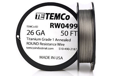 TEMCo Titanium Wire 26 Gauge 50 FT Surgical Grade 1 Resistance AWG ga