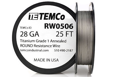 TEMCo Titanium Wire 28 Gauge 25 FT Surgical Grade 1 Resistance AWG ga