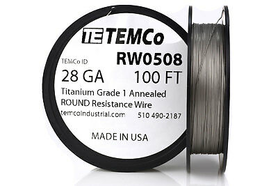 TEMCo Titanium Wire 28 Gauge 100 FT Surgical Grade 1 Resistance AWG ga