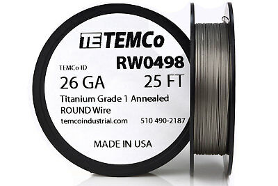 TEMCo Titanium Wire 26 Gauge 25 FT Surgical Grade 1 Resistance AWG ga