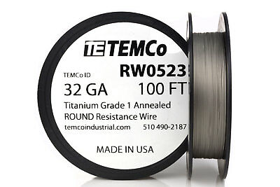 TEMCo Titanium Wire 32 Gauge 100 FT Surgical Grade 1 Resistance AWG ga